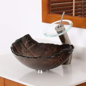 Elite Hot Melted and Hand Painted Glass Autumn Leaf Shaped Bow Vessel Bathroom Sink Drain