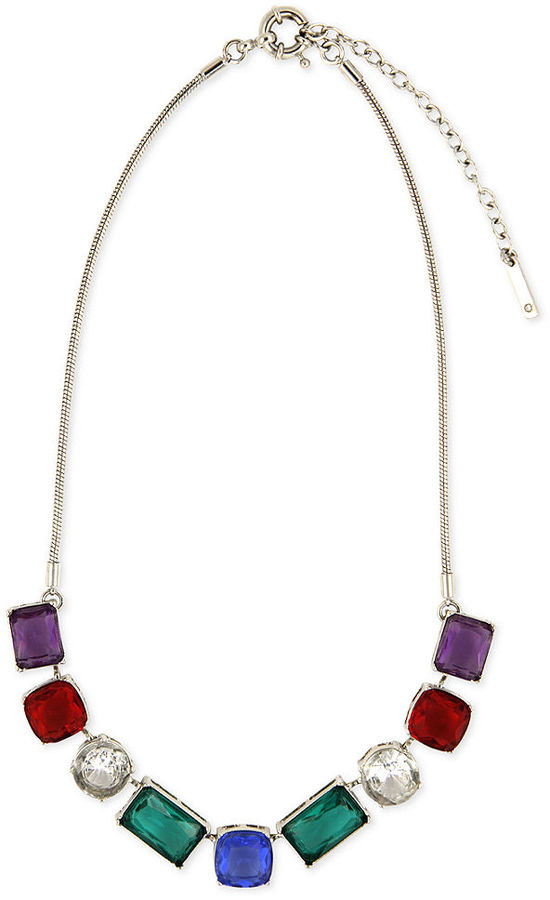 Nine West Necklace, Silver-Tone Multi-Color Stone Statement Necklace
