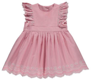 George Pink Embroidered Frill Cap Sleeves Dress
