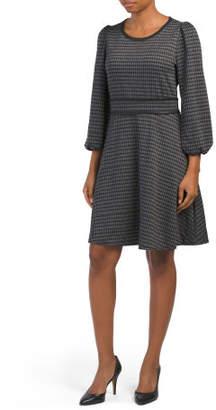 Bubble Sleeve Knit Jacquard Dress