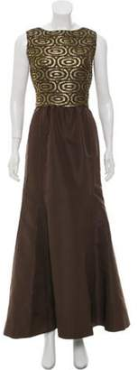 Oscar de la Renta Brocade Sleeveless Gown Brown Brocade Sleeveless Gown