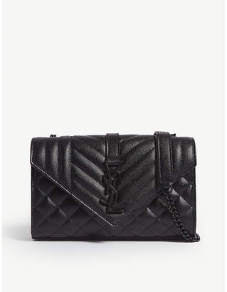 Saint Laurent Monogram small quilted pebbled leather satchel