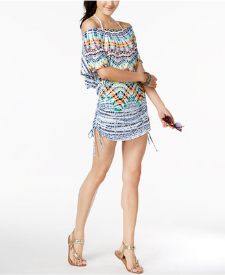 Bar Iii Tulum Off-The-Shoulder Tunic Cover-Up, Created for Macy's Women's Swimsuit $64 thestylecure.com