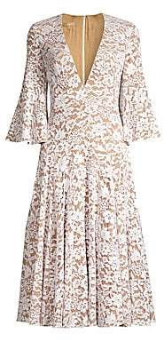 Michael Kors Women's Deep V-Neck Lace Bell-Sleeve Dress
