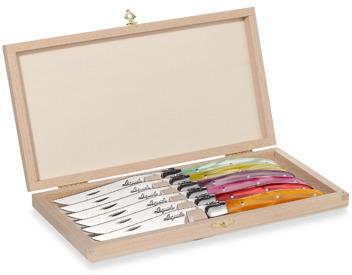 Laguiole 6-Piece Colored Steak Knife Set with Wood Claps Storage Box