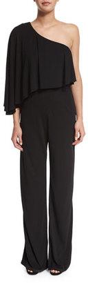 Trina Turk One-Shoulder Asymmetric Popover Jumpsuit, Black $358 thestylecure.com