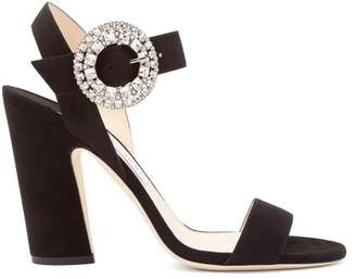 Jimmy Choo Mischa 100 Suede Sandals - Womens - Black