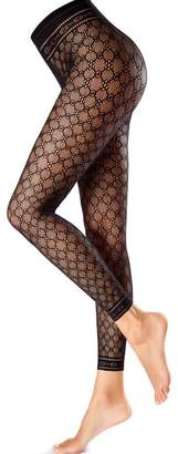 Oroblu Hosiery Fishnet Macrame Patterned Leggings-Small/Medium
