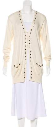 Blumarine Beaded-V-Neck Cardigan