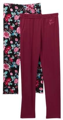Betsey Johnson Betsey Roses & Solid Knit Leggings - Pack of 2 (Toddler Girls)
