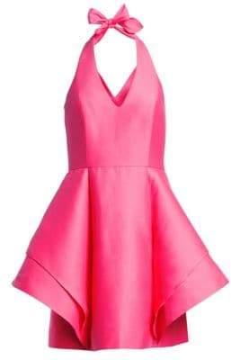 Halston Halterneck Fit-&-Flare Cocktail Dress