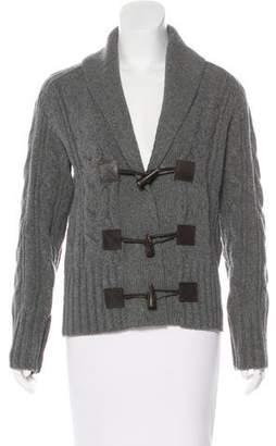 Black Fleece Cable Knit Virgin Wool Cardigan