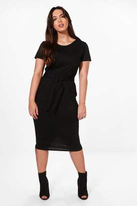 boohoo Plus Tie Waist Midi Dress
