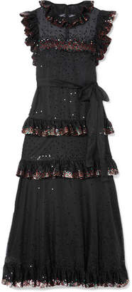 Valentino Ruffled Tiered Sequin-embellished Tulle Gown - Black