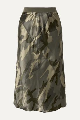ATM Anthony Thomas Melillo Camouflage-print Silk-satin Skirt - Army green