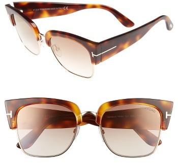 Women's Tom Ford 55Mm Retro Sunglasses - Blonde Havana/ Brown Mirror