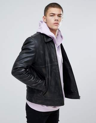 Asos Leather Jacket With Fleece Lining In Black