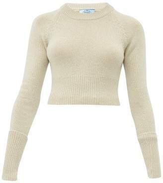 Prada Cropped Cashmere Sweater - Womens - Beige