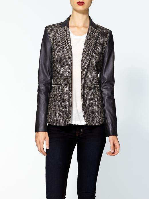 MICHAEL Michael Kors Tweed Jacket With Faux Leather Sleeves