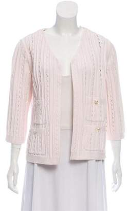 Chanel Open Knit Three-Quarter Sleeve Cardigan w/ Tags