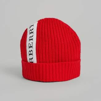 Burberry Logo Stripe Wool Turnback Beanie