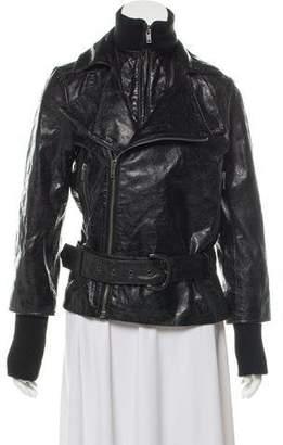 Alice + Olivia Distressed Leather Jacket