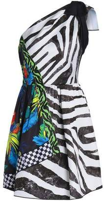 Marc Jacobs One-shoulder Embellished Printed Satin Mini Dress