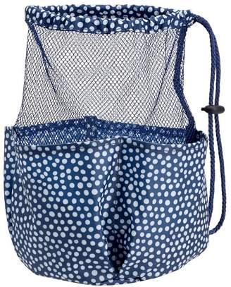 Pottery Barn Teen Drawstring Hanging Shower Caddy, Navy Mini Dot