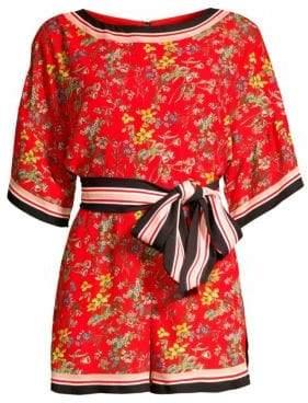 Alice + Olivia Women's Bowie Striped Trim Floral Romper - Small Freesia Blossom Bright Poppy Multi - Size 14