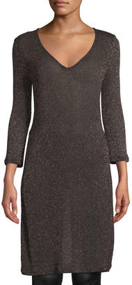 Three Dots Shimmer-Knit V-Neck Tunic Sweater