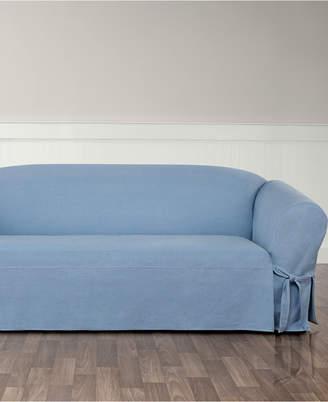 Sure Fit Authentic Denim One Piece T-Cushion Sofa Slipcover