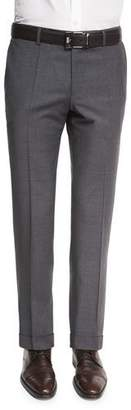 BOSS Genesis Slim-Fit Wool Trousers, Charcoal