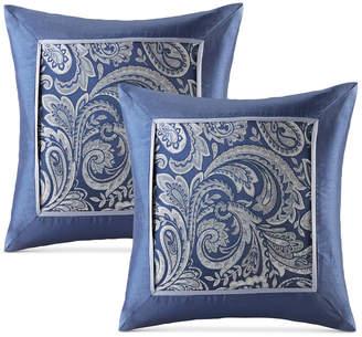 "Madison Park Aubrey 20"" Square Paisley Jacquard Faux-Silk Pair of Decorative Pillows"