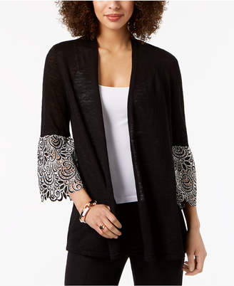 Alfani Lace Bell-Sleeve Cardigan, Created for Macy's