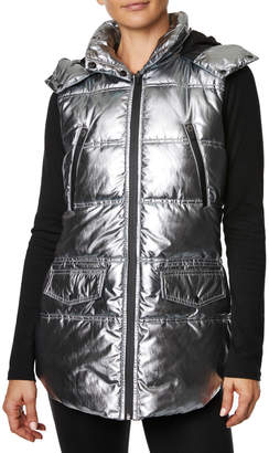 Betsey Johnson Quilted Puffer Vest w Hood
