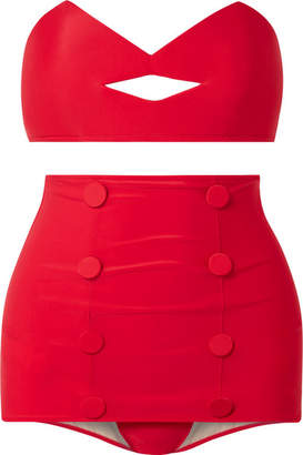 Charlotte Olympia Adriana Degreas Pin-up Kiss Bandeau Bikini - Red