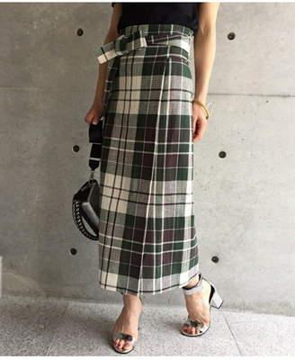 aquagirl (アクアガール) - aquagirl チェックミディ丈ラップスカート アクアガール スカート