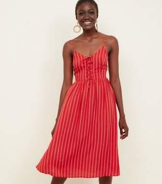 New Look Red Stripe Lace-Up Front Midi Dress 2fbfbaaf9