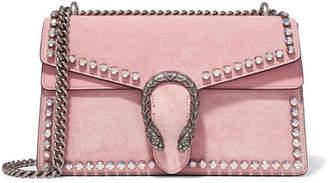 Gucci Dionysus Crystal-embellished Suede Shoulder Bag - Pink