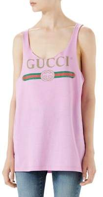 Gucci Logo Raw Edge Tank Top