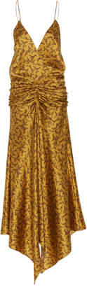 Jonathan Simkhai Asymmetric Ruched Printed Silk Maxi Dress Size: 2