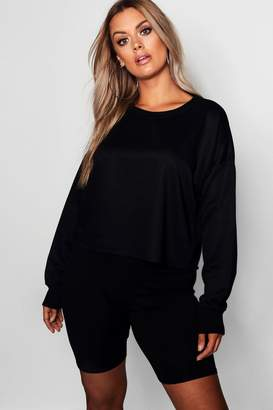 boohoo Plus Raw Hem Boxy Oversized Sweat