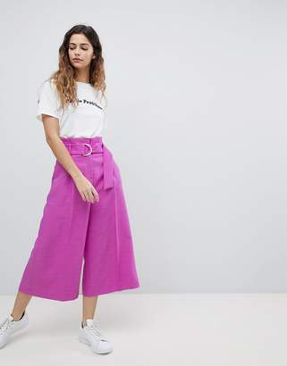 Asos Design Tailored D-Ring Culottes In Purple