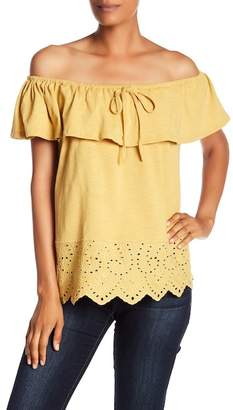 Doe & Rae Off-the-Shoulder Eyelet Lace Trimmed Top