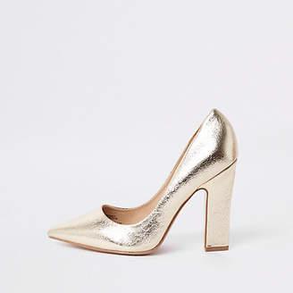 River Island Gold wide fit razor heel pumps