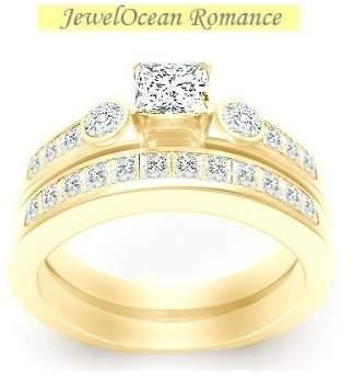 FineTresor 1.67 Carat Princess Cut Diamond Affordable Bridal Set on 14K Yellow - Gold