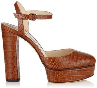 Jimmy Choo MAPLE 125 Cuoio Croc Embossed Platform Pumps