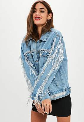Missguided Blue Embellished Sequin Fringe Denim Jacket, Blue