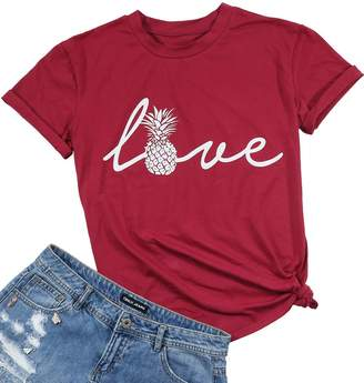 624c104823548 BANGELY Women s Love Pineapple Letters Graphic Print Funny T-Shirt Casual  Short Sleeve Tops Tees