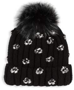 Jocelyn Jewel& Fox Fur Ribbed Beanie